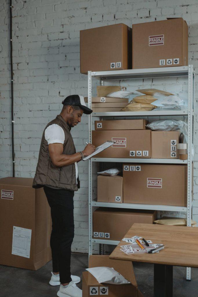 Male worker inside a 3PL warehouse